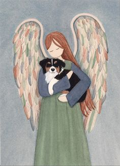 Australian shepherd (aussie) cradled by angel / Lynch signed folk art print by watercolorqueen on Etsy