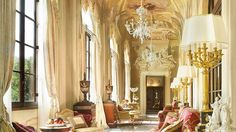 Royal Suite (della Gherardesca) at the Fours Seasons Florence.  This is the suite's gallery.  Yes, this is a hotel room!