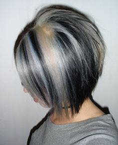 black and silver highlights in hair - Google Search