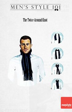 Men's style - The twice-around  knot for scarves