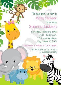 Boy or Girl Wild Animals Jungle Safari Baby Shower