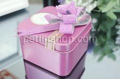 Hochzeit Süßigkeit Kasten, mit Satinband, Quadrat, Spritzlackierung, Rosa, frei von Nickel, Blei & Kadmium, 65x65x38mm