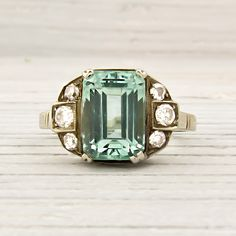 Image of Vintage White and Yellow Gold Emerald Engagement Ring