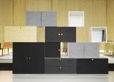 Tetris med fronter i ljudisolerande filt och ask • cabinets with sound absorbing felt by Horreds