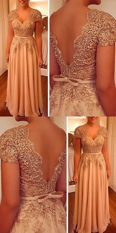 V-Neck Chiffon Prom Dress, Beading Long Party Dress, Champagne Cap Sleeves Evening Dress Burgundy Formal Dress, Casual Formal Dresses, Formal Evening Dresses, Evening Gowns, Evening Dresses With Sleeves, Ball Dresses, Prom Dresses, Wedding Dresses, Frocks And Gowns