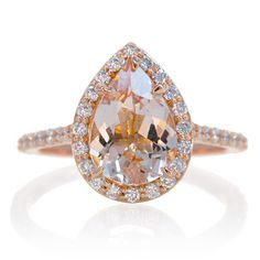 Morganite pear 7x10 halo diamond engagement ring rose gold
