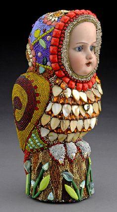 Colorful bead sculptures, Mexico Huichol art