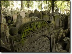 Prague's Old Jewish Cemetary (this is the actual name)  -a 15th century cemetary with 10 more stacked on top over the years -there are about 12,000 headstones but about 100,000 bodies in up to 12  layers in places  -visitors report much spirit activity in the area