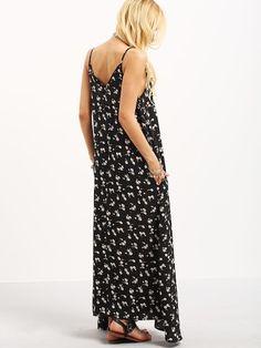 Vestido escote pico flores tirante fino -negro-Spanish SheIn(Sheinside)  Tirantes Finos 9d887b8e658