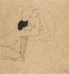 Egon Schiele (Austrian, 1890-1918), Liebende [Lovers], c.1909. Pencil and coloured crayon on paper, 31.5 x 29.5 cm.