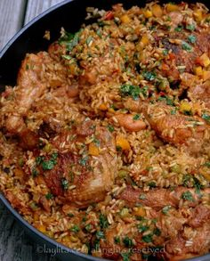 Arroz con pollo or chicken rice. Arroz con pollo, or chicken rice, is a… Peruvian Recipes, Rice Recipes, Mexican Food Recipes, Chicken Recipes, Cooking Recipes, Healthy Recipes, Ethnic Recipes, Recipe Chicken, Yummy Recipes
