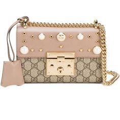 Gucci GG Supreme padlock shoulder bag (€1.545) ❤ liked on Polyvore featuring bags, handbags, shoulder bags, leather shoulder handbags, studded purse, gucci handbags, leather shoulder bag and kiss-lock handbags