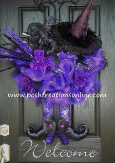 Witch wreath - www.poshcreationsonline.com - She has a bunch of fun versions.  Just cannot see paying that much for a wreath when I am pretty sure I could figure out how to make one.