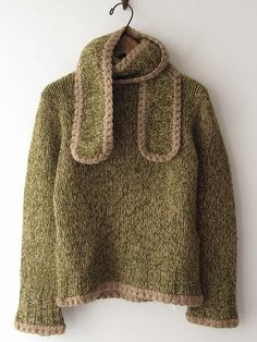 Design Detail, Mina Perhonen | simple marl pullover with wrap scarf around neck and contrast crocheted edges