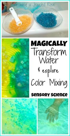 Sensory play & Science for Kids- Let kids magically transform water right before their eyes with magic homemade crystals! Such a fun way to explore color theory, science, and the senses!