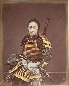 Actor in Samurai Armor  Shinichi Suzuki  (Japanese, 1835–1919)  Date: 1870s Medium: Albumen silver print from glass negative