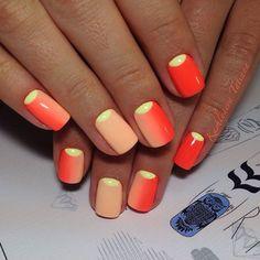 August nails, Bright gel polish, Bright gradient nails, Bright summer nails, Half moon nails 2016, Moon ombre nails, Ombre nails, overflow nails