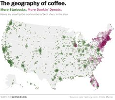 A coffee addict's guide to the universe from The Washington Post. The biggest surprise - there are more Dunkin' Donuts on the East Coast than there are Starbucks.