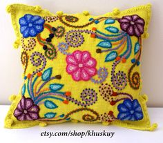 Yellow Pillow cushion cover Hand embroidered flowers by khuskuy