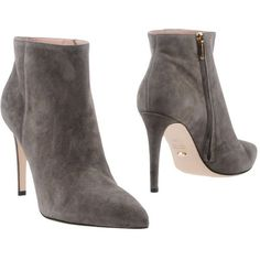 Sergio Rossi Ankle Boots (600 BGN) ❤ liked on Polyvore featuring shoes, boots, ankle booties, grey, short leather boots, zip ankle boots, grey leather boots, grey ankle booties and gray ankle boots