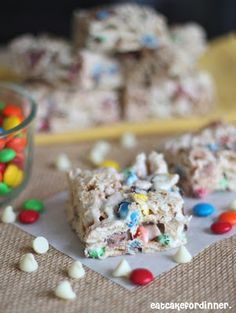 White Chocolate Cereal Treats with M & M's