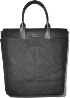 The Good Flock + Jardins Florian - Tokyo Tote Bag (Black vegetable tanned leather & Black waxed cotton/canvas)