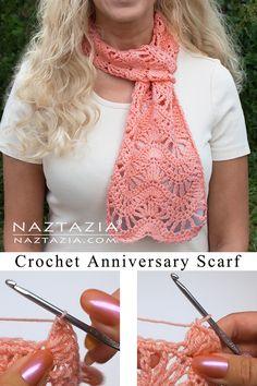 How to Crochet the Anniversary Scarf - Naztazia ® Crochet Lace Scarf, Crochet Ripple, Crochet Lace Edging, Crochet Scarves, Crochet Clothes, Free Crochet, Knit Crochet, Lace Knitting, Crochet Humor