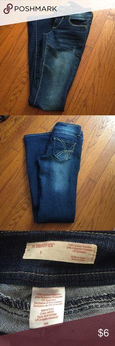 No Boundaries Jeans Dark blue jeans. Double buttons above zipper. Low waist. Boot cut. No Boundaries Jeans Boot Cut