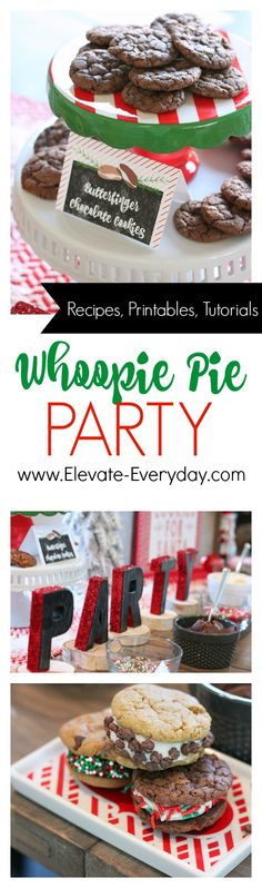 Whoopie Pie party with recipes, tutorials and printables Whoppie Pies, Cookie Pie, Gingerbread, Printables, Tutorials, Cakes, Baking, Holiday, Party