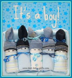 5 homemade diaper babies for boys in blue shades, placed side by side and text Baby Boy Baptism Gifts, Unique Baby Boy Gifts, Newborn Baby Boy Gifts, Baby Boy Christening, Best Baby Gifts, Baby Shower Gifts For Boys, Nice Gifts, Newborn Boys, New Baby Boys