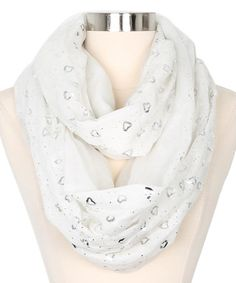 Look what I found on #zulily! White & Silver Heart Infinity Scarf #zulilyfinds