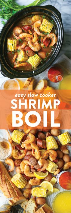 Slow Cooker Shrimp Boil - Red potatoes, andouille sausage, shrimp, corn, Old Bay. A classic shrimp boil made without any of the fuss right in your crockpot! for dinner crockpot Slow Cooker Shrimp Boil Slow Cooker Huhn, Best Slow Cooker, Slow Cooker Chicken, Slow Cooker Recipes, Cooking Recipes, Shrimp Slow Cooker, Easy Crockpot Recipes, Slow Cooker Jambalaya, Slow Cooker Dinners