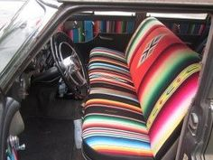...serape Seat covers...would be cool cushion covers for the camper! Mexican  saddle blankets