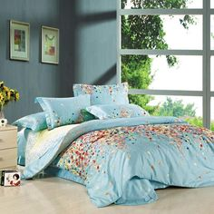 Tiffany Blue Yellow and Red Colorful Garden Images Floral Print Modern Bedroom Full, Queen Size Bedding Sets Mint Green Bedding, Blue Bedding Sets, Cheap Bedding Sets, Cotton Bedding Sets, Bedding Sets Online, Affordable Bedding, Full Size Bedroom Sets, Queen Size Bed Sets, Queen Size Bedding