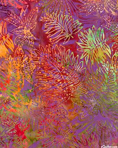 Leaves In The Tropics Batik - Raspberry