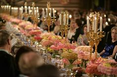 2015 Nobel Banquet Flower Decorations Table of Honour by florist Per Benjamin