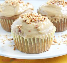 Banana Cupcakes with Peanut Butter Frosting • Table for Seven