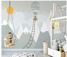 Kids Gray Mountainscape with Hot Air Balloon and Sun Wallpaper Mural - Kids bedroom wall decor - Babyzimmer Sun Wallpaper, Kids Room Wallpaper, Children Wallpaper, Wallpaper Murals, Geometric Wallpaper, Colorful Wallpaper, Kids Wall Murals, Nursery Wall Murals, Childrens Wall Murals