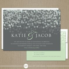 Champagne Bubbles Modern Wedding Invitation & RSVP Set - CUSTOMIZE Colors and Content - Digital Design Files