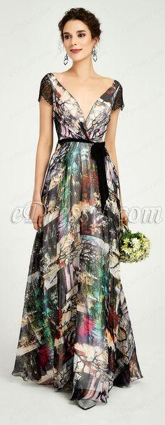 364538a928eba Deep V-Cut Cap Sleeves Floral Print Party Dress (00191068)