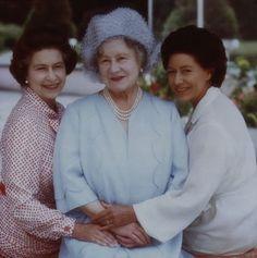 Queen Elizabeth The Queen Mother with Queen Elizabeth ll and Princess Margaret Countess of Snowdon