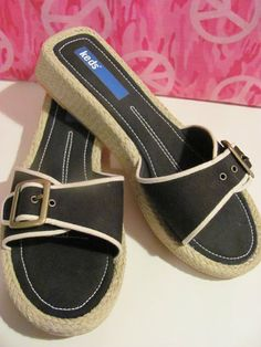 KEDS BRAND    WOMENS SLIDE    WEDGE SANDALS    BLACK CANVAS    SIZE 6.5M    TRIMMED IN WHITE PIPING    CONTRASTING WHITE THREAD    CUTE BUCKLE    BRAIDED JUTE WEDGE    1 IN WEDGE    ¾ IN PLATFORM    LIGHTLY PADDED INSOLE    MAN MADE SOLE    SUPER CUTE    MINT CONDITION FOR    PREOWNED    VERY COMFY    VERY STYLISH    WONDERFUL ADDITION    TO YOUR WARDROBE