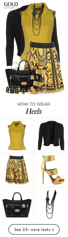 """Gold Sandals"" by jackie22 on Polyvore featuring NIC+ZOE, D.Exterior, Versace, Mulberry, Mia Limited Edition, M&Co, Monet, Chanel, blackandgold and goldsandals"