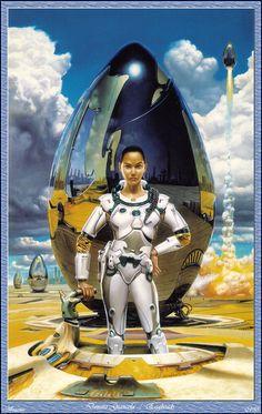 "Futuristic Girl, Retro-Future, Sci-Fi Girl, ""AN"" cover by Donato Giancola (novel by Emily Devenport © Boris Vallejo, Steam Punk, Art Pulp, Arte Sci Fi, 70s Sci Fi Art, Classic Sci Fi, Space Girl, Sci Fi Characters, Science Fiction Art"