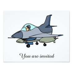 Jet Fighter Military Party Invitations