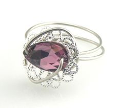Victorian Ring Swarovski Button Amethyst Pear by TrinketsNWhatnots, $32.00
