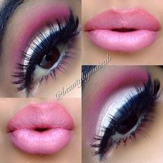 """""""BarbieWHO?"""" - white shade all over eyelid with a medium pink shade in crease blended outwards. deep black winged liner."""