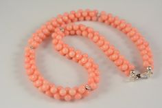 pink coral necklace by ForestJewelry on Etsy