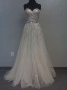 Image of Gorgeous A-line Sweetheart Tulle Prom Dress with Sequins