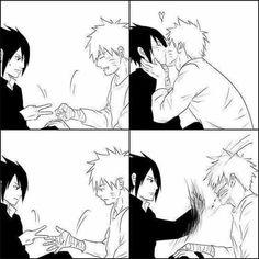 Naruto And Sasuke / SasuNaru / <<< BROS I can literally hear that slapping sound XD omg he would definitely do that too Naruto Shippuden Sasuke, Naruto Kakashi, Sasunaru, Anime Naruto, Naruto Comic, Gaara, Naruto Cute, Narusasu, Otaku Anime